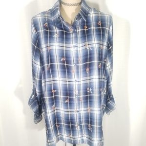 Knox Rose plaid long sleeves button down shirt. XL